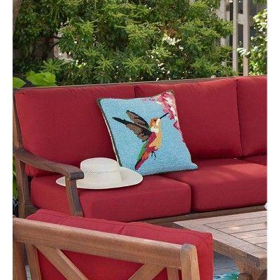 Indoor Outdoor Hand Hooked Polypropylene Hummingbird Throw Pillow