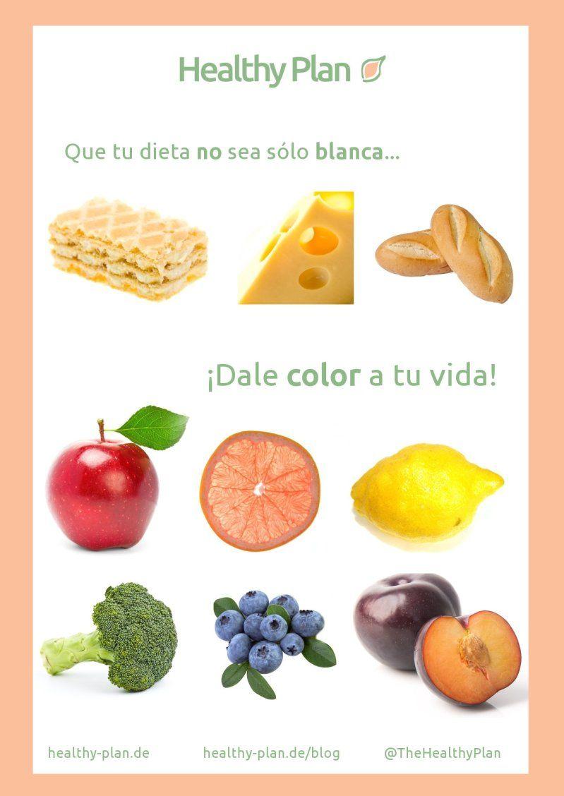 Agrega a tu dieta vegetales, frutas, cereales integrales, legumbres, frutos secos.  No te quedes con una dieta en blanco. ¡Llénate de vida! #HealthyOptions #Saludable Visita www.healthy-plan.de