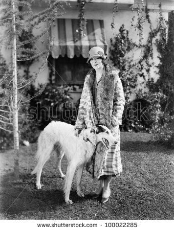 20's young woman and borzoi