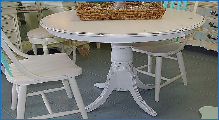 Inspirational White Distressed Round Dining Table White Round