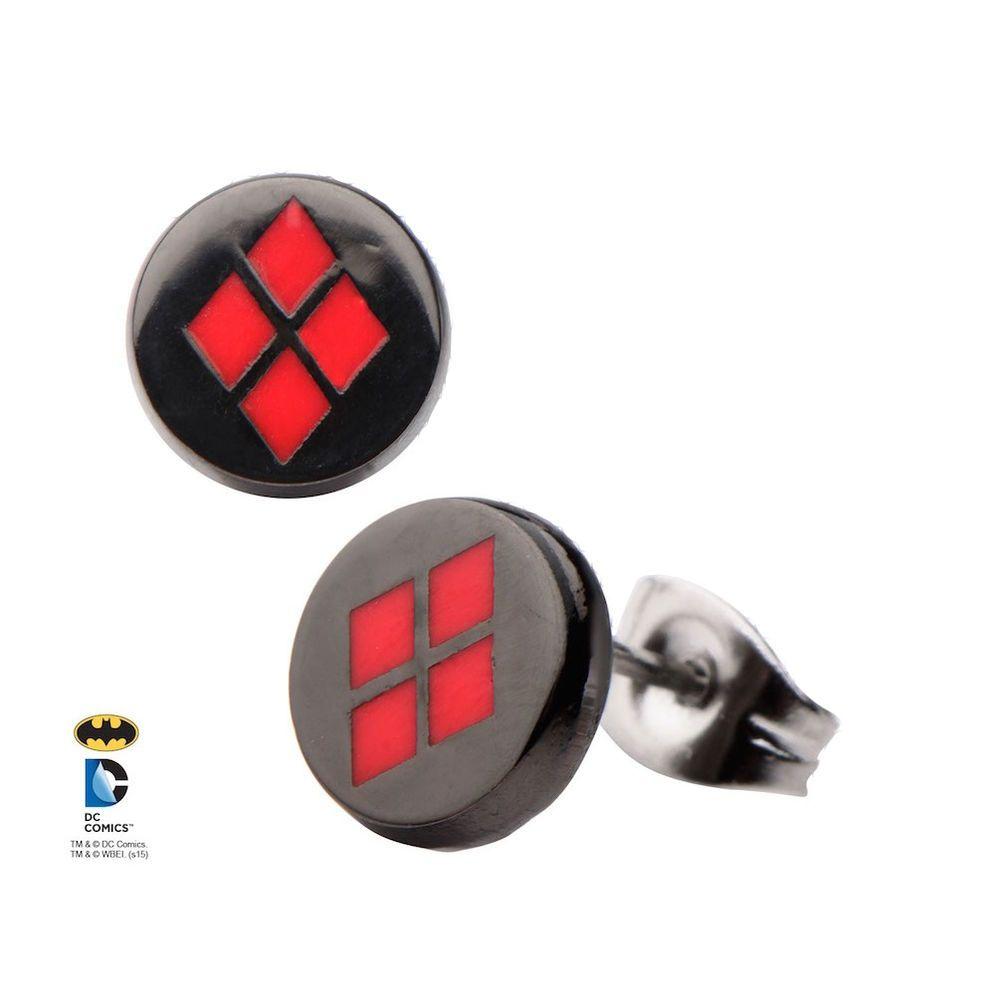35084c72b Harley Quinn Enamel Metal Stud Earrings Licensed New DC Comics Batman