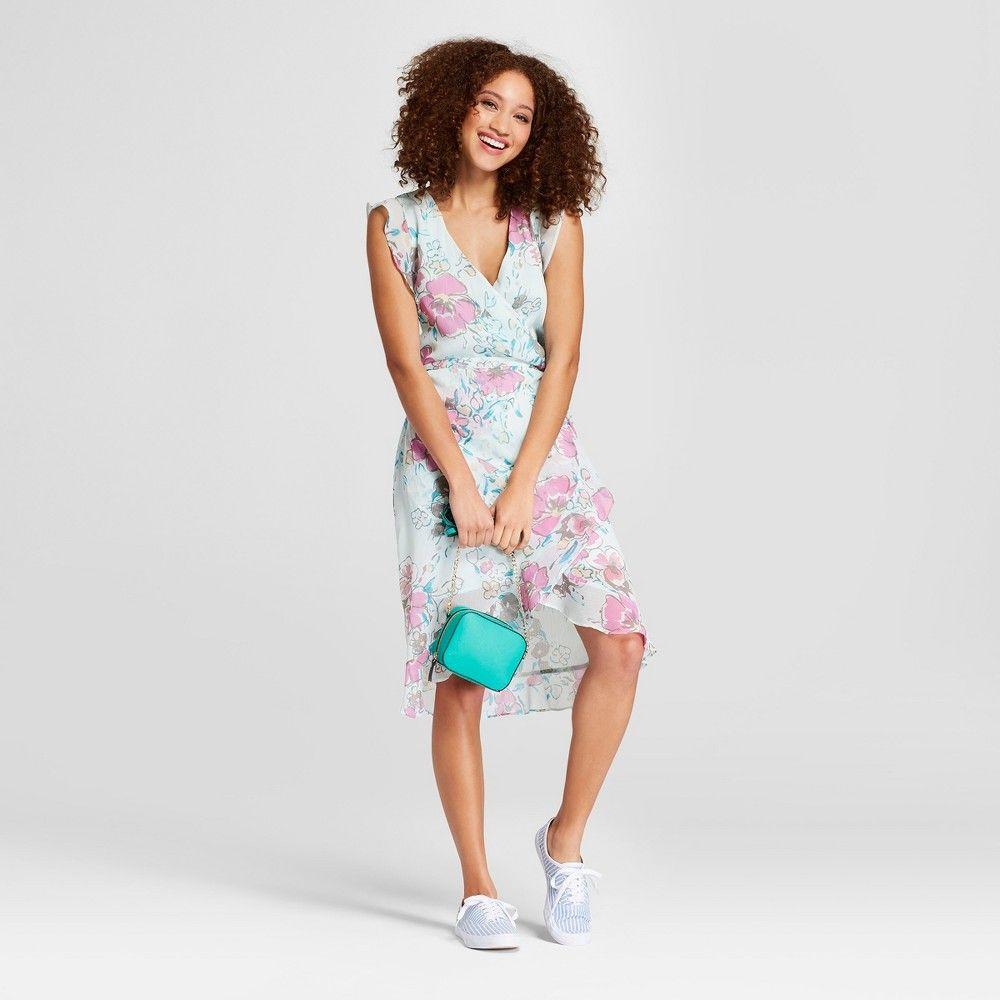 Women's Floral Print Short Sleeve Ruffle Wrap Dress A New