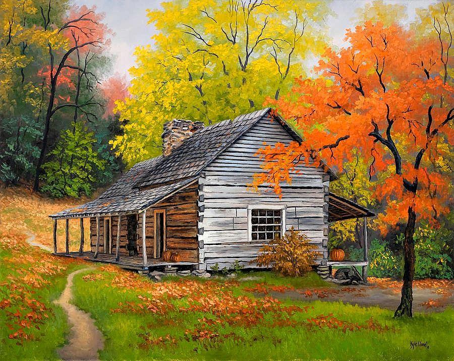 Kyle Wood Appalachian Retreat In Autumn Barn Painting Autumn Painting Landscape Paintings