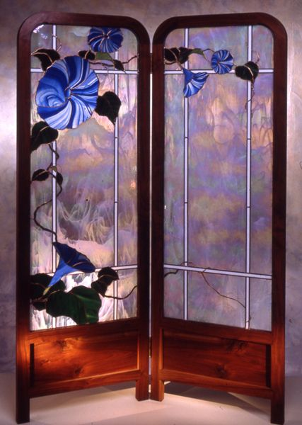 Wonderful Glass And Wood Shoji Screen By William Poulson