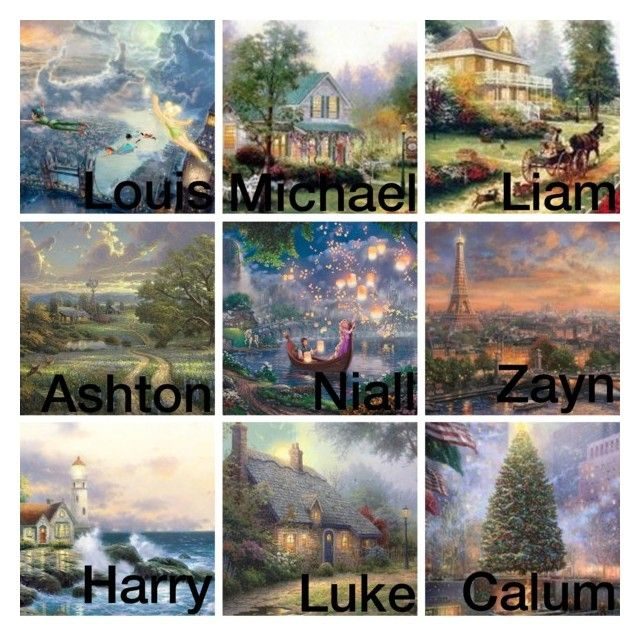 """""""1D/5SoS: Your Favorite Thomas Kinkade Painting"""" by tarabooklover ❤ liked on Polyvore featuring art"""