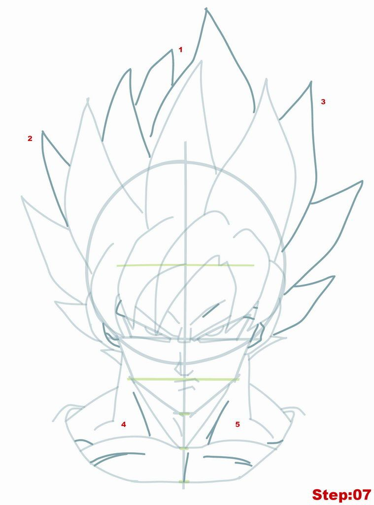 Drawing Goku Super Saiyan From Dragonball Z Tutorial Step 07