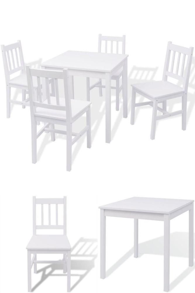 White Wooden Table And 4 Chairs Indoor Bistro Set Kitchen Dining Room Furniture