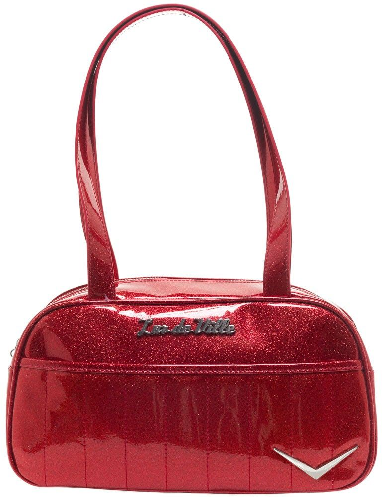 4c1125185c LUX DE VILLE CRUISER TOTE RED SPARKLE $72.00 #luxdeville #pinup #retro  #rockabilly #purse