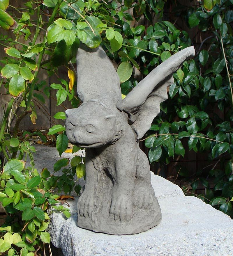 USA-Made Cast Stone Chained Gargoyle Garden Statuary Gargoyle