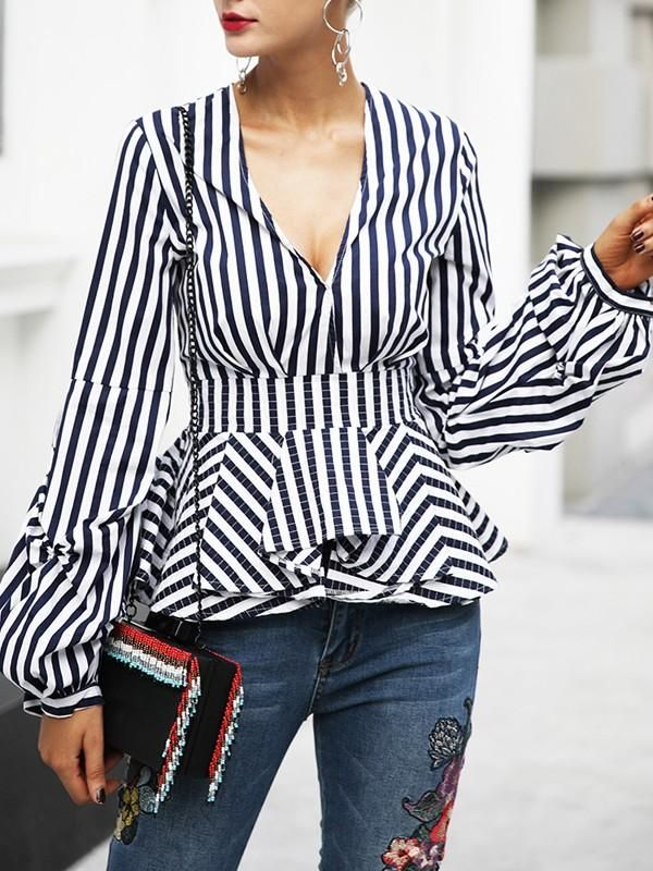 d88a584d Striped V Neck Pleated Sleeve Blouse - Queenfy | Clothes in 2019 ...
