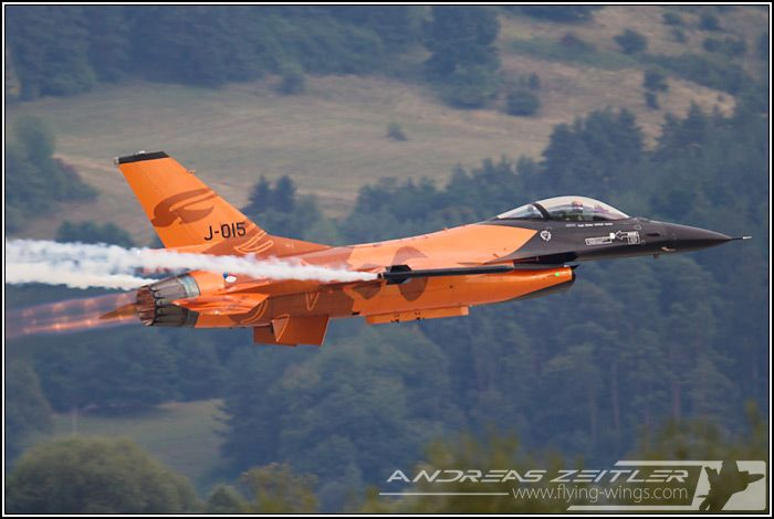 Czech Air Force General Dynamics F-16 Fighting Falcon in special air show display scheme.