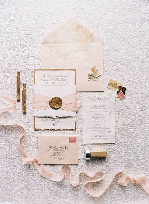 Old World Glamour Pale Pink Invitation Suite With Rustic Accents