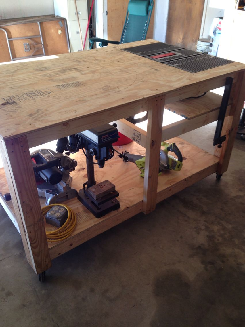 Rolling Work Bench With Built In Table