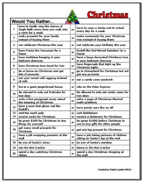 Christmas Would You Rather Questions Classroom Freebies Christmas Questions Christmas School Christmas Breakfast