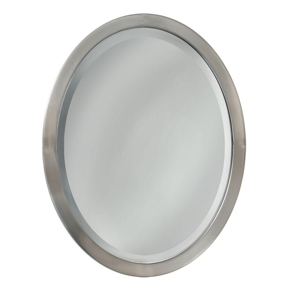 Deco Mirror 23 In W X 29 In H Metal Framed Single Oval Mirror In Brushed Nickel 6295 Oval Mirror Oval Mirror