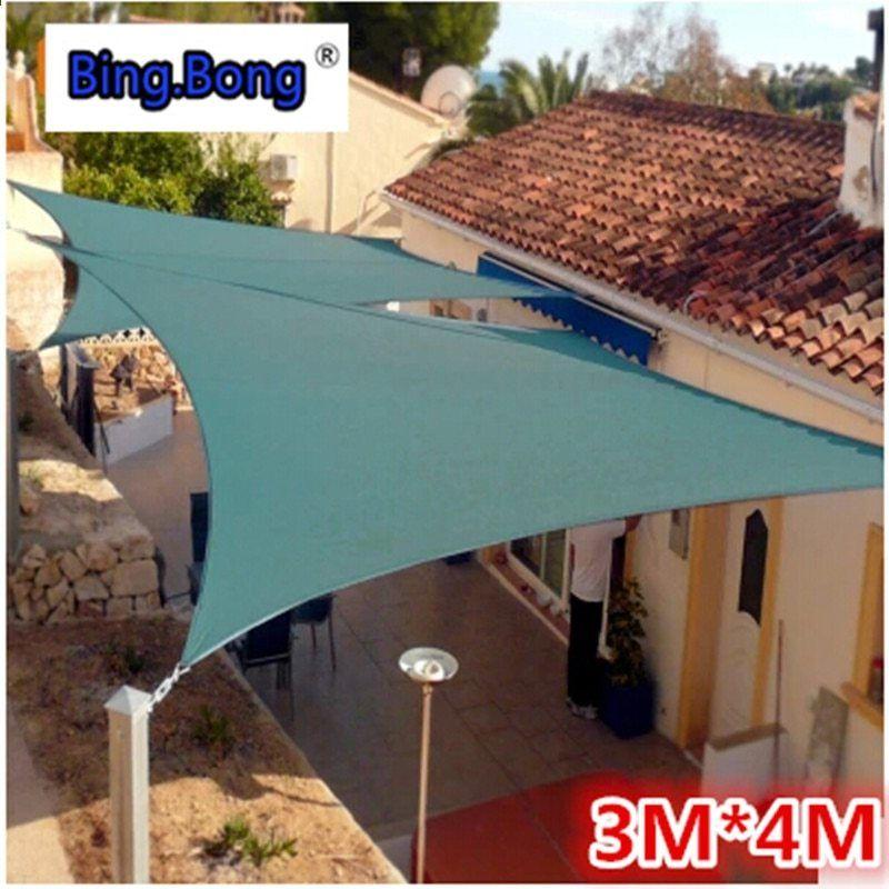 Outdoor Sun Shading Berlayar Tenda Kanopi Kualitas Air Bukti Pu Polyester Kain 3 4m Persegi 4 Sudut Bersih Anti Uv Tabir Surya Dijual Patio Pergola Tenda