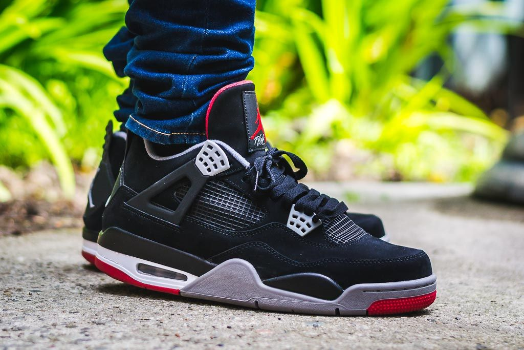 size 40 0c2a1 c43c4 Air Jordan 4 Bred - Black/Red - On Foot Sneaker Review ...