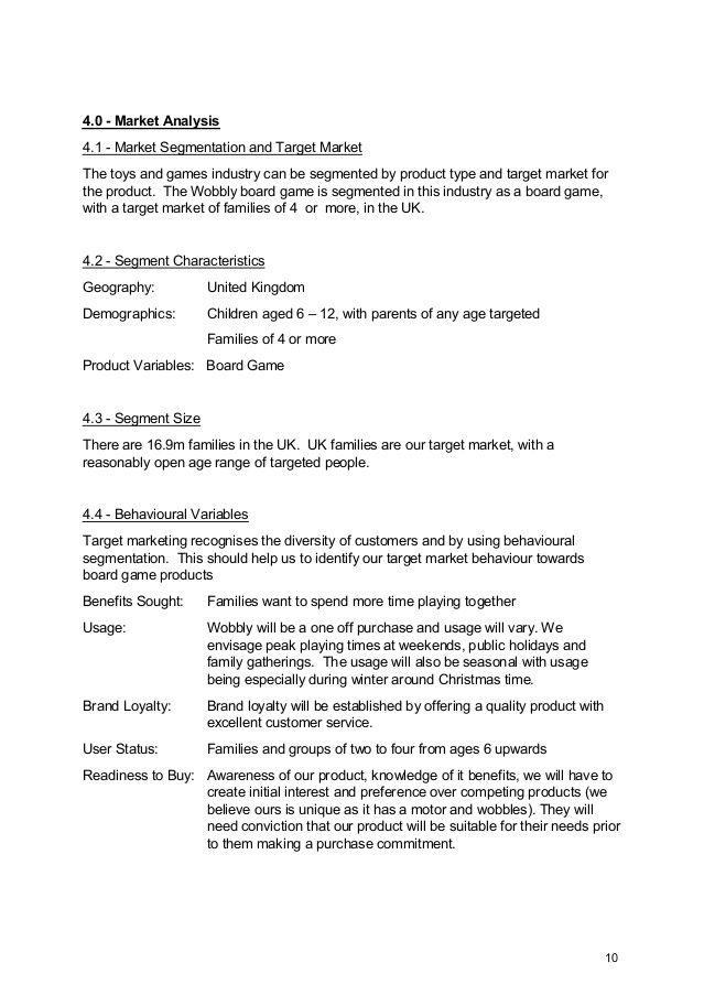 40 - Market Analysis 41 - Market Segmentation and Target Market
