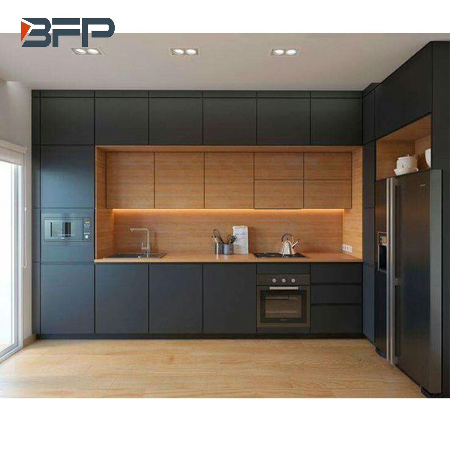 Kitchen Cabinets Modern Style Interior Design L Shape 160 Color Mix Free Handle Cabinet Bmk 83 Small Modern Kitchens Modern Kitchen Design Kitchen Room Design