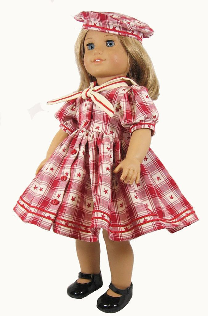 "Plaid Sailor Dress for 18"" American Girl Dolls"