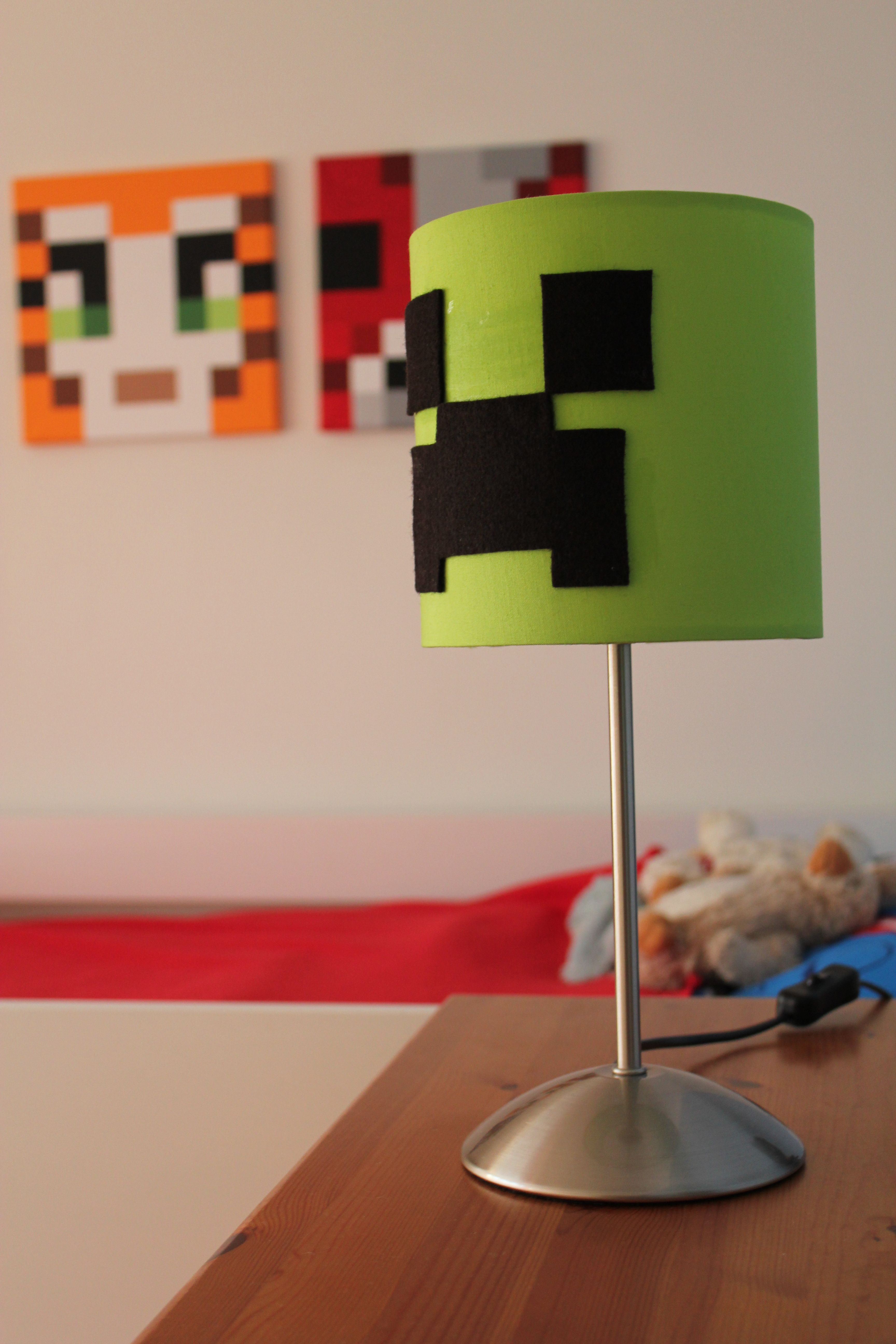 Minecraft Creeper Lamp Some Black Felt Lovely Lime Green Lamp Another Ikea Special And A Bit Of Minecraft Room Minecraft Bedroom Decor Minecraft Bedroom