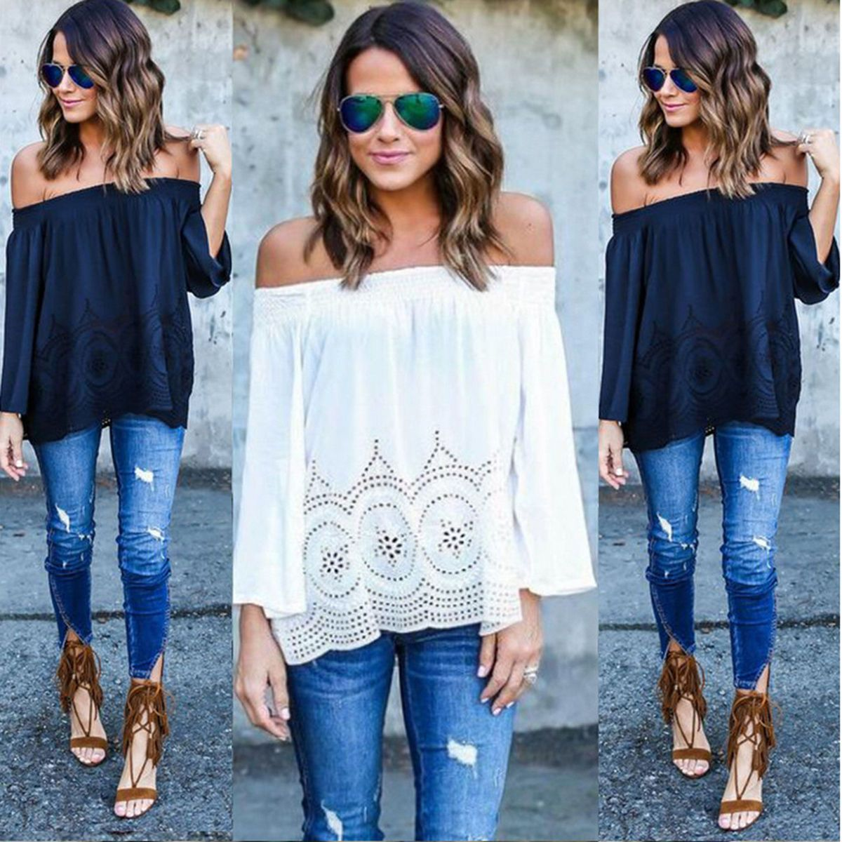 1a8edd66698 Fashion Women Long Sleeve Tops Blouse Ladies Off Shoulder Loose Casual T  Shirt