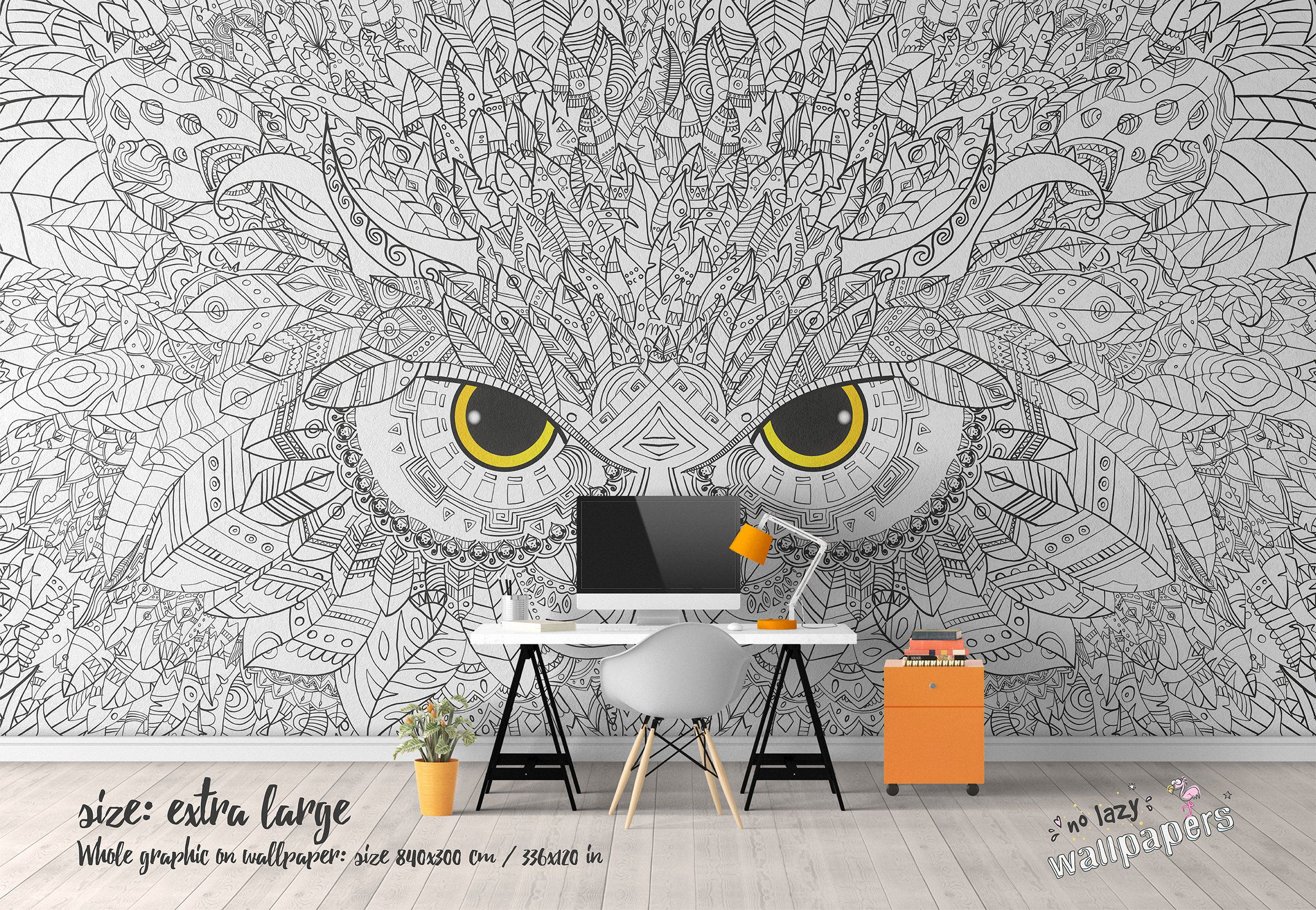 coloring boho owl wall mural, customizable wallpaper, wall