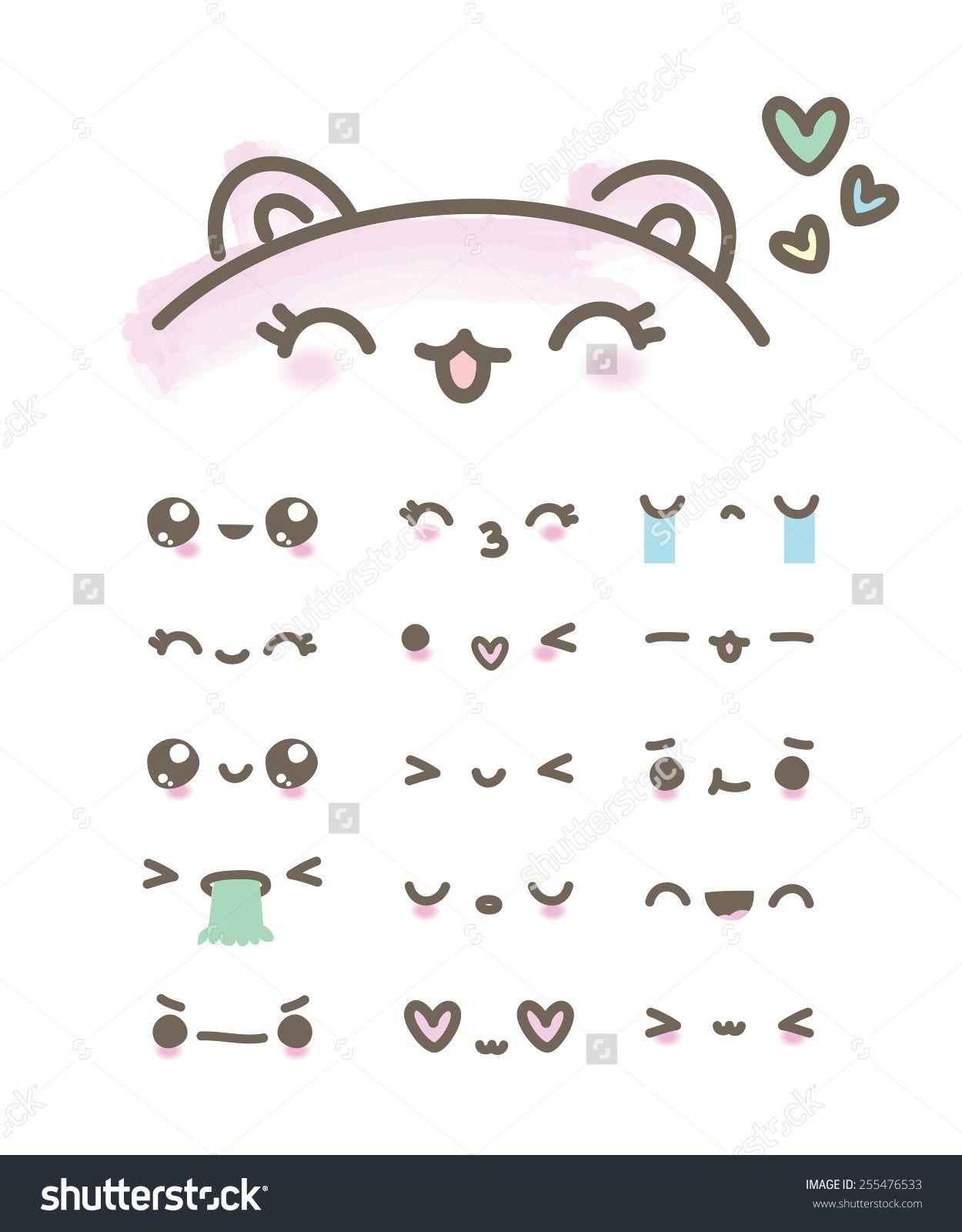 Set kawaii emoticons illustrations en 2019 kawaii drawings kawaii faces et kawaii art - Emoticone kawaii ...