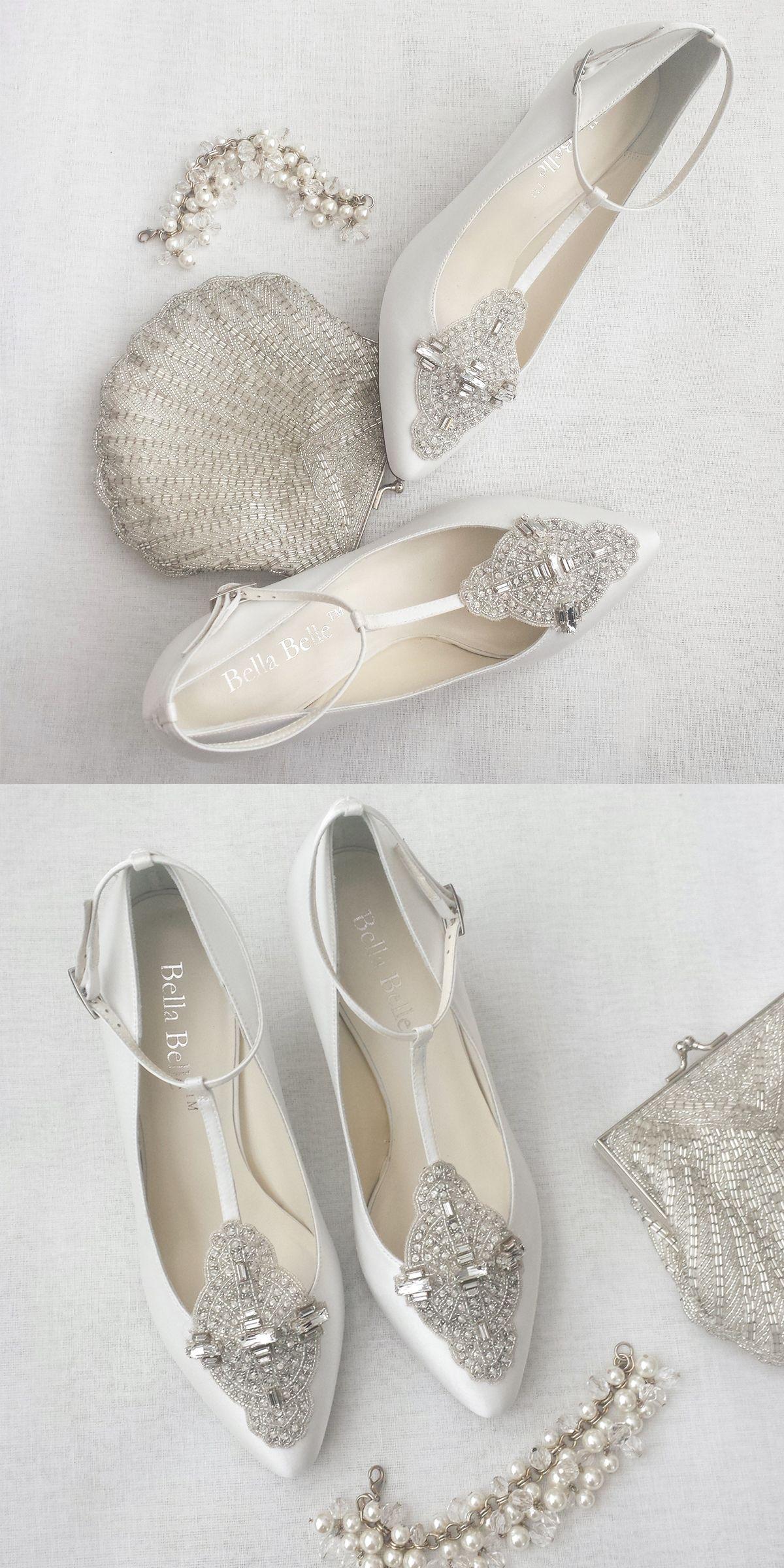 White Art Deco Wedding Shoes Wedding shoes heels