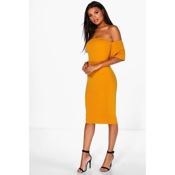 6a9d34ef56 Boohoo Night Zoe Off Shoulder Flute Sleeve Midi Dress ( 26) ❤ liked on  Polyvore featuring dresses