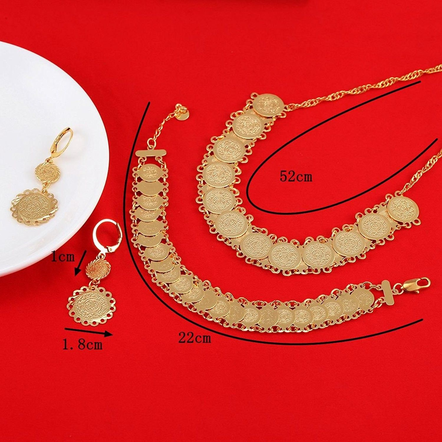 Gold plated jewelry set ethiopian jewelry antique coin bracelet