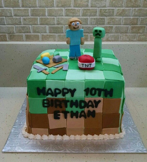 A Minecraft cake for Ethans 10th birthday Creeper Steve diamond