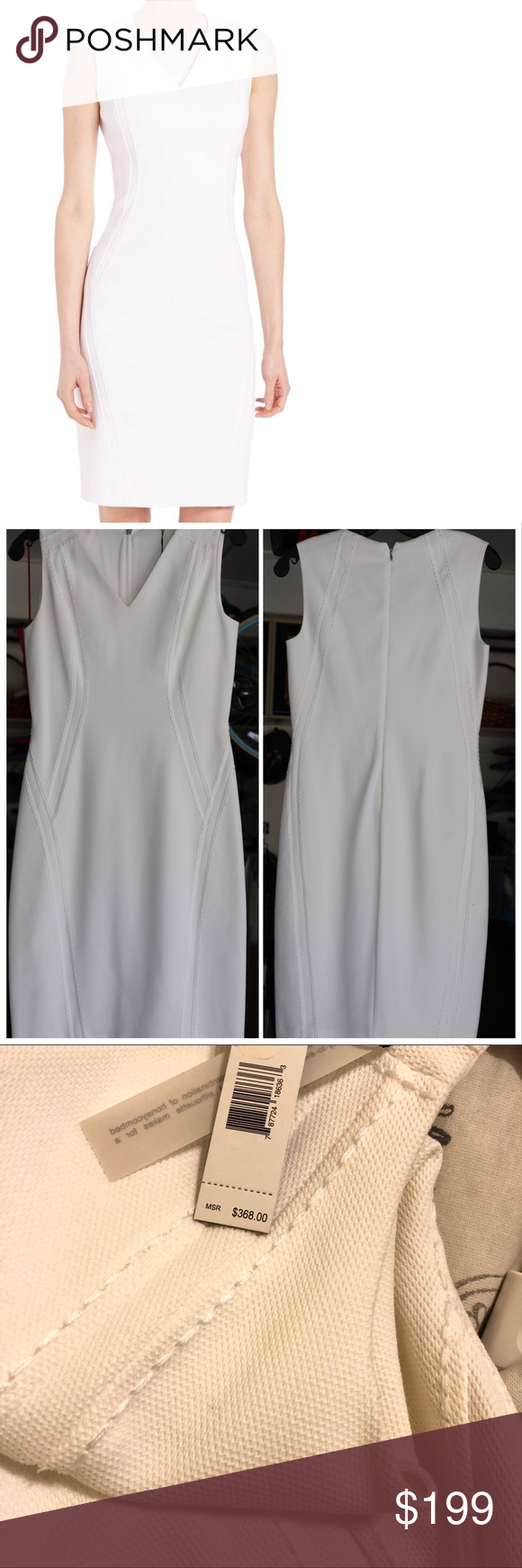 Elie Tahari Shannon Dress In White Flattering Sheath In Stretch Cotton Pique V Neck Sleeveless Back Zip Lined Elie Tahari Dresses Clothes Design White Dress [ 1740 x 580 Pixel ]