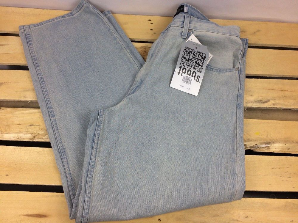 5d352ebc0a NEW Levis SilverTab Baggy Denim Jeans Loose Fit Light Blue Mens Size 36x32  NWT  Levis  BaggyLoose