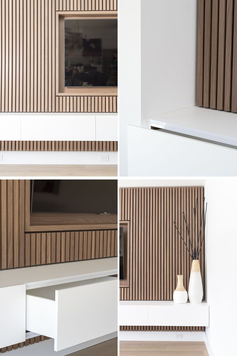 Design Detail A Wood Slat Accent Wall Surrounds The Tv In This Living Room Accent Walls In Living Room Living Room Wood Small Living Room Design