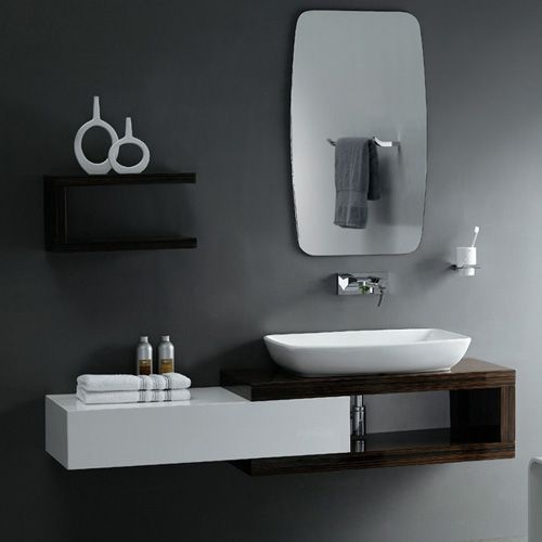 Cool Black And White Vanity For Small Modern Bathroom Design With Mirror Vessel Sink Bathroom Vanity Designs Floating Bathroom Vanities Modern Bathroom Vanity