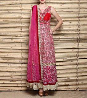 Pink Georgette & Net Anarkali Suit With Zardozi