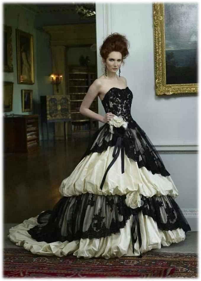 black-and-white-gothic-wedding-dress-Black-Gothic-Lace-Wedding ...