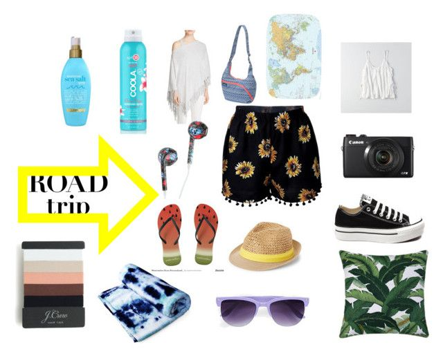 """""""Let's hit the road!"""" by livipop24 on Polyvore featuring American Eagle Outfitters, Minnie Rose, Boohoo, J.Crew, Steve Madden, Organix, COOLA Suncare, Converse, Kavu and jcp"""