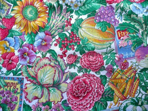 seed packet fabric | Seed Packets, Flowers, Fruit and Vegetables Cotton Fabric Yardage ...