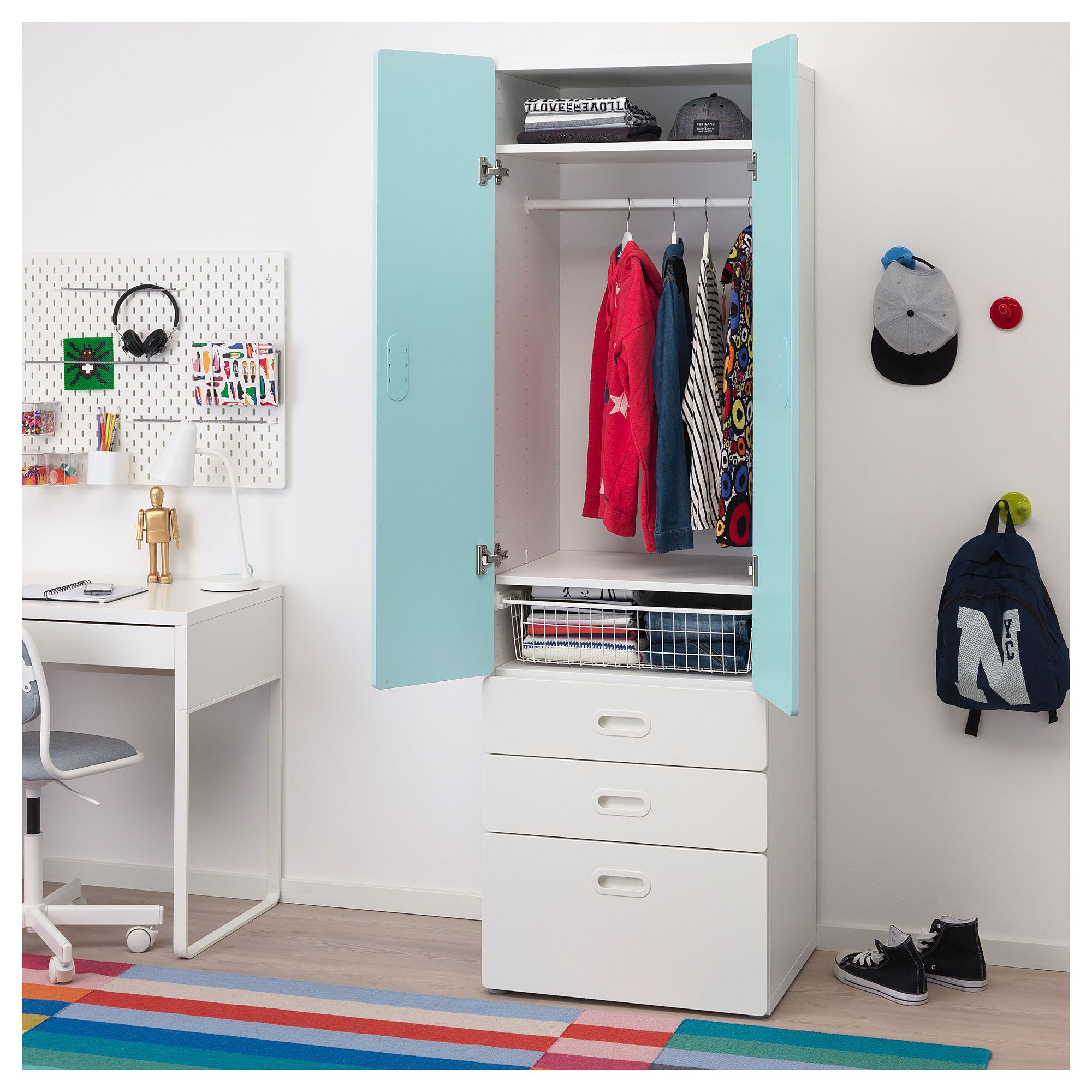 Ikea Stuva Fritids Wardrobe White Light Blue Kleiderschrank