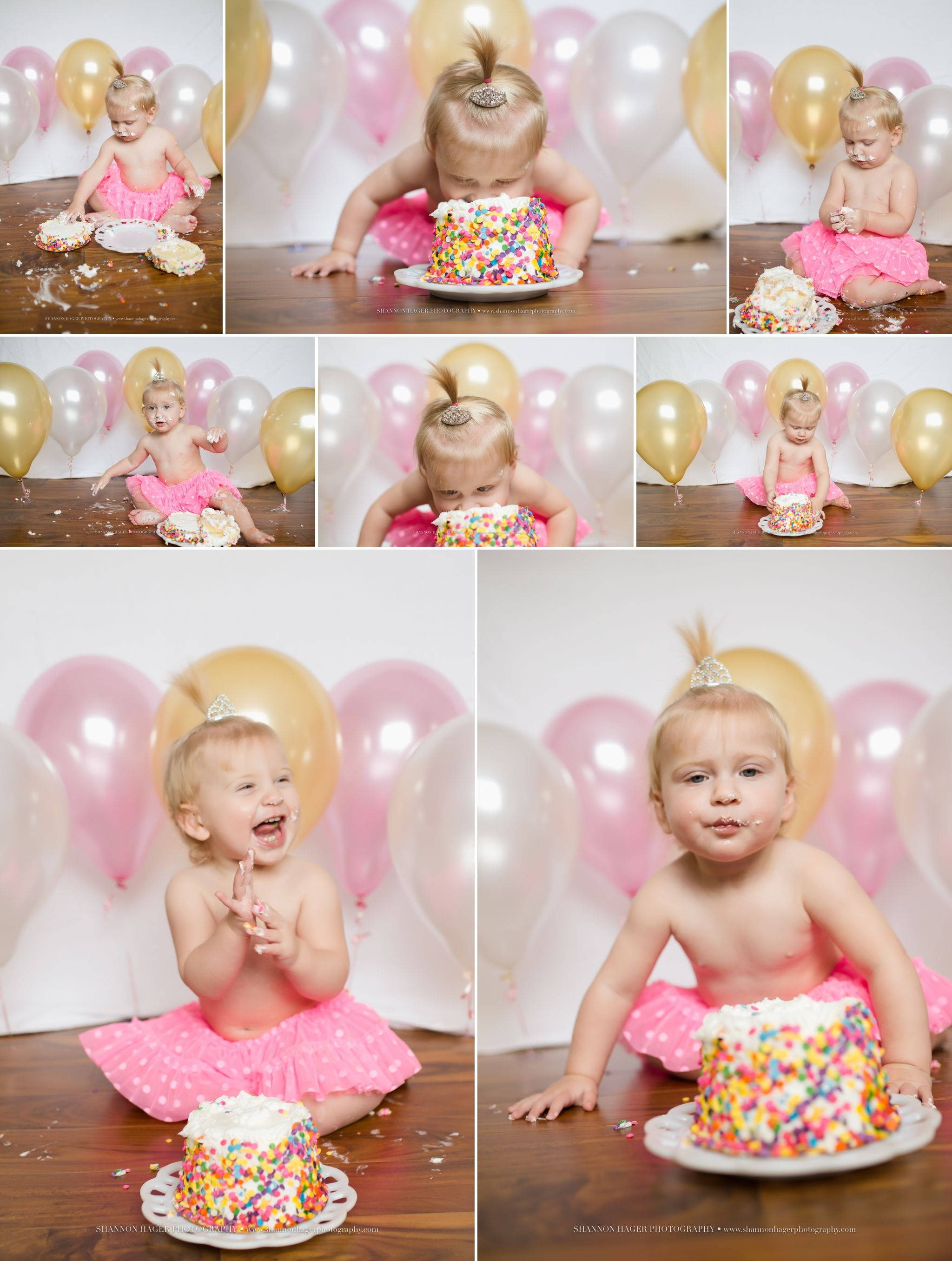 First Birthday Cake Smash Pink and Gold Portland Baby Photographer