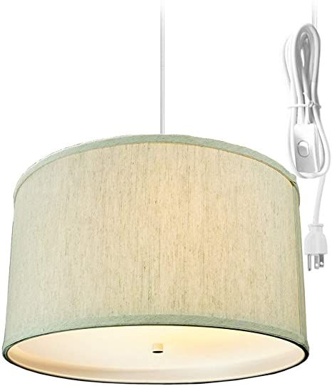 HomeConcept SDW181810DRTO Textured Oatmeal 2 Light Swag Plug-in Pendant with Diffuser