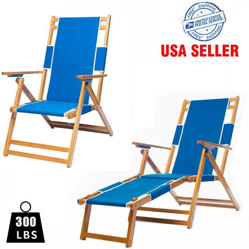 Folding Wood Chaise Lounger Beach Chair Outdoor Furniture Etsy In 2020 Beach Chairs Wooden Beach Chairs Outdoor