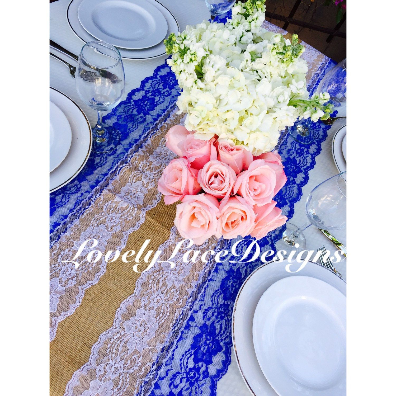 Royal Blue Weddings Burlap Royal Blue White Lace Runner In