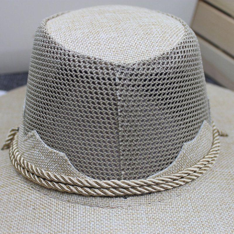 e626b3a62 Mens Retro Vogue Cotton Linen Mesh Breathable Jazz Cap Outdoor ...