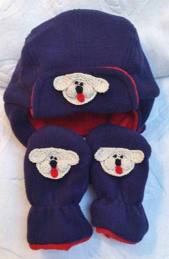 Boys Baby Infant Blue Red Bomber Fleece Hat Mittens by ByCyndie ... 0dde53e28c0