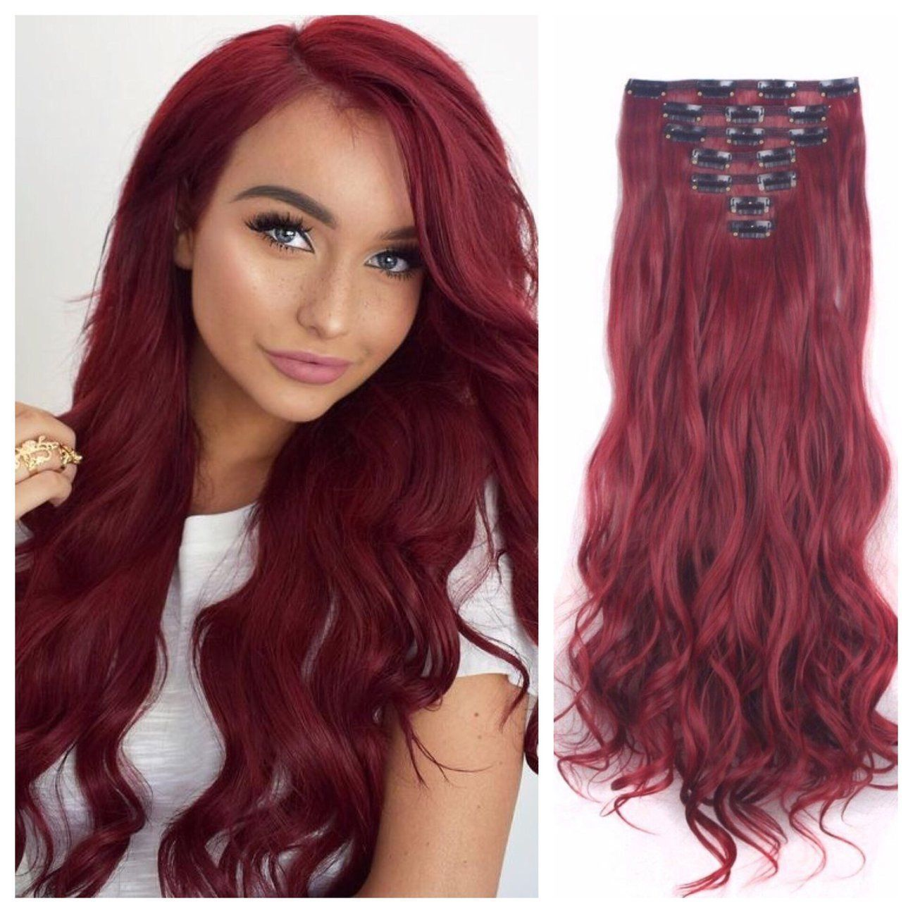 Dark Red Clip In Hair Extensions Remy Human Hair 24 Wavy Hair 180g