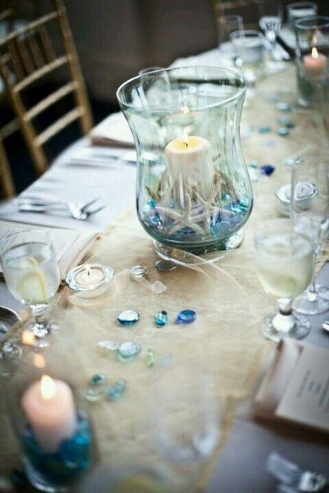 Burlap Table Runner Blue Glass Beads Beach Wedding Centerpieces