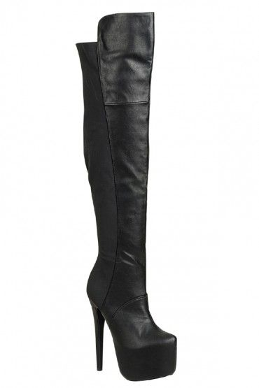 9317a45fc03 BLACK 6 INCH HEEL HIDDEN CHUNKY PLATFORM OVER THE KNEE BOOT